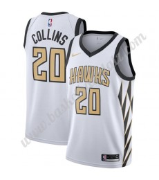 Atlanta Hawks Trikot Herren 2019-20 John Collins 20# Weiß City Edition Basketball Trikots NBA Swingm..