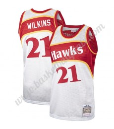 Atlanta Hawks Trikot Herren Dominique Wilkins 21# Platinum Hardwood Classics Basketball Trikots NBA ..