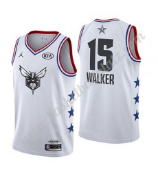 Charlotte Hornets Trikot Herren 2019 Kemba Walker 15# Weiß All Star Game Basketball Trikots Swingman..