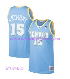 Denver Nuggets NBA Trikot Kinder 2003-04 Carmelo Anthony 15# Light Blau Hardwood Classics Basketball..