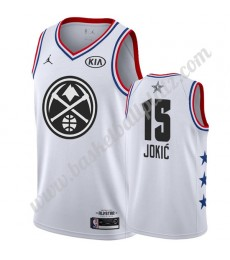 Denver Nuggets Trikot Herren 2019 Nikola Jokic 15# Weiß All Star Game Basketball Trikots Swingman..