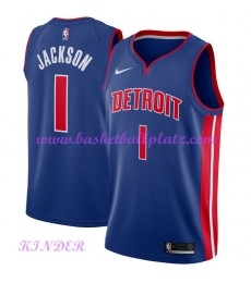 Detroit Pistons NBA Trikot Kinder 2018-19 Reggie Jackson 1# Icon Edition Basketball Trikots Swingman..