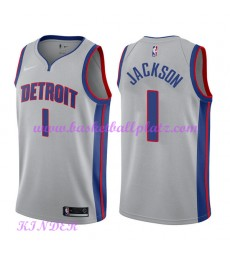 Detroit Pistons NBA Trikot Kinder 2018-19 Reggie Jackson 1# Statement Edition Basketball Trikots Swi..