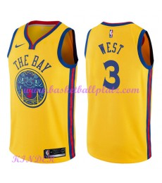 Golden State Warriors NBA Trikot Kinder 2018-19 David West 3# City Edition Basketball Trikots Swingm..