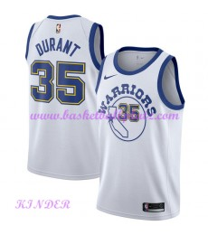 Golden State Warriors NBA Trikot Kinder 2018-19 Kevin Durant 35# Weiß Hardwood Classics Basketball T..
