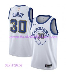 Golden State Warriors NBA Trikot Kinder 2018-19 Stephen Curry 30# Weiß Hardwood Classics Basketball Trikots Swingman