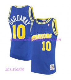Golden State Warriors NBA Trikot Kinder 1990-91 Tim Hardaway 10# Blau Hardwood Classics Basketball T..