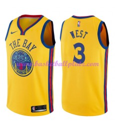 Golden State Warriors Trikot Herren 2018-19 David West 3# City Edition Basketball Trikots NBA Swingm..