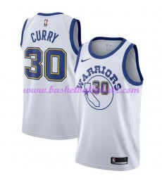 Golden State Warriors Trikot Herren 2018-19 Stephen Curry 30# Weiß Hardwood Classics Basketball Trikots NBA Swingman