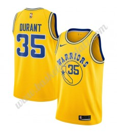 Golden State Warriors Trikot Herren 2019-20 Kevin Durant 35# Gold Hardwood Classics Basketball Triko..