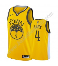 Golden State Warriors Trikot Herren 2019-20 Quinn Cook 4# Gold Earned Edition Basketball Trikots NBA..
