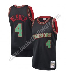 Golden State Warriors Trikot Herren 1993-94 Chris Webber 4# Schwarz Hardwood Classics Basketball Tri..
