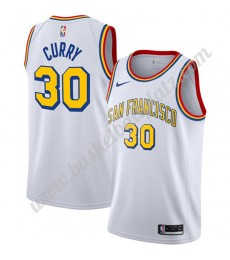 Golden State Warriors Trikot Herren Stephen Curry 30# Weiß Finished Hardwood Classics Basketball Tri..