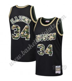 Houston Rockets Trikot Kinder 1993-94 Hakeem Olajuwon 34# Schwarz Straight Fire Camo NBA Trikots Swi..