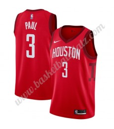Houston Rockets Trikot Herren 2019-20 Chris Paul 3# Rot Earned Edition Basketball Trikots NBA Swingm..