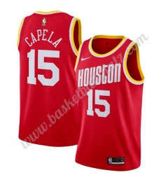Houston Rockets Trikot Herren 2019-20 Clint Capela 15# Rot Finished Hardwood Classics Basketball Tri..