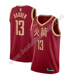 Houston Rockets Trikot Herren 2019-20 James Harden 13# Rot City Edition Basketball Trikots NBA Swing..