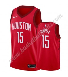Houston Rockets Trikot Herren 2019-20 Clint Capela 15# Rot Earned Edition Basketball Trikots NBA Swi..