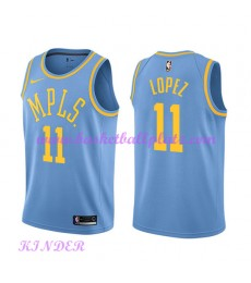 Los Angeles Lakers NBA Trikot Kinder 2018-19 Brook Lopez 11# Light Blau Hardwood Classics Basketball..