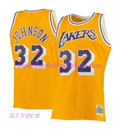Los Angeles Lakers NBA Trikot Kinder 1984-85 Magic Johnson 32# Gold Hardwood Classics Basketball Tri..