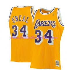 Los Angeles Lakers Herren 1996-97 Shaquille O'Neal 34# Gold Hardwood Classics Basketball Trikots NBA..
