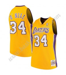 Los Angeles Lakers Trikot Herren 1999-00 Shaquille O'Neal 34# Gold Hardwood Classics Basketball Trik..
