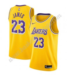 Los Angeles Lakers Trikot Herren 2019-20 LeBron James 23# Gold Icon Edition Basketball Trikots NBA S..
