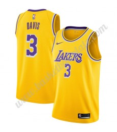 Los Angeles Lakers Trikot Herren 2019-20 Anthony Davis 3# Gold Icon Edition Basketball Trikots NBA S..