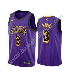 Los Angeles Lakers Trikot Herren 2019-20 Anthony Davis 3# Lila City Edition Basketball Trikots NBA S..