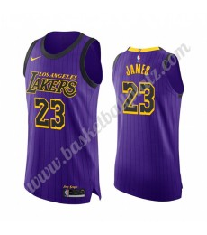 Los Angeles Lakers Trikot Herren 2019-20 LeBron James 23# Lila City Edition Basketball Trikots NBA S..