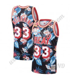 Miami Heat Trikot Kinder 1996-97 Alonzo Mourning 33# Blumen Mode Hardwood Classics NBA Trikots Swing..
