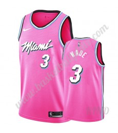 Miami Heat Trikot Kinder 2019-20 Dwyane Wade 3# Rosa Earned Edition NBA Trikots Swingman..