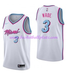 Miami Heat Trikot Herren 2018-19 Dwyane Wade 3# City Edition Basketball Trikots NBA Swingman..