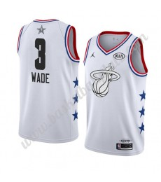 Miami Heat Trikot Herren 2019 Dwyane Wade 3# Weiß All Star Game Basketball Trikots Swingman..