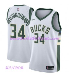 Milwaukee Bucks NBA Trikot Kinder 2018-19 Giannis Antetokounmpo 34# Association Edition Basketball T..