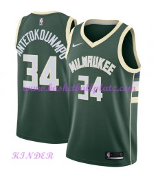 Milwaukee Bucks NBA Trikot Kinder 2018-19 Giannis Antetokounmpo 34# Icon Edition Basketball Trikots ..
