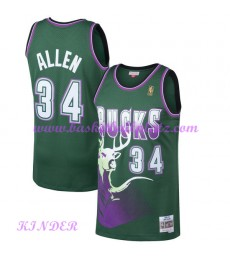Milwaukee Bucks NBA Trikot Kinder 1996-97 Ray Allen 34# Grün Hardwood Classics Basketball Trikots Sw..