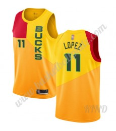Milwaukee Bucks Trikot Kinder 2019-20 Brook Lopez 11# Gelb City Edition NBA Trikots Swingman..