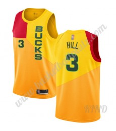 Milwaukee Bucks Trikot Kinder 2019-20 George Hill 3# Gelb City Edition NBA Trikots Swingman..