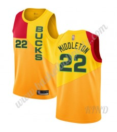 Milwaukee Bucks Trikot Kinder 2019-20 Khris Middleton 22# Gelb City Edition NBA Trikots Swingman..