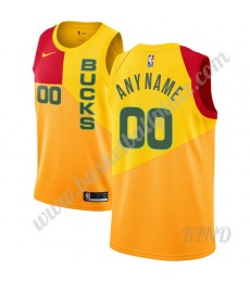 Milwaukee Bucks Trikot Kinder 2019-20 Gelb City Edition NBA Trikots Swingman..