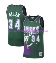 Milwaukee Bucks Herren 1996-97 Ray Allen 34# Grün Hardwood Classics Basketball Trikots NBA Swingman..