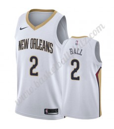 New Orleans Pelicans Trikot Herren 2019-20 Lonzo Ball 2# Weiß Association Edition Basketball Trikots NBA Swingman