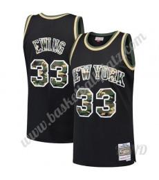 New York Knicks Trikot Kinder 1991-92 Patrick Ewing 33# Schwarz Straight Fire Camo NBA Trikots Swing..