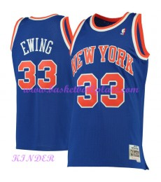 New York Knicks NBA Trikot Kinder 1991-92 Patrick Ewing 33# Blau Hardwood Classics Basketball Trikot..