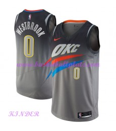 Oklahoma City Thunder NBA Trikot Kinder 2018-19 Russell Westbrook 0# City Edition Basketball Trikots Swingman