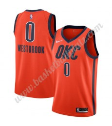 Oklahoma City Thunder Trikot Herren 2019-20 Russell Westbrook 0# Orange Earned Edition Basketball Tr..
