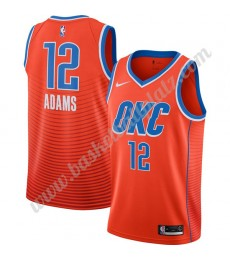 Oklahoma City Thunder Trikot Herren 2019-20 Steven Adams 12# Orange Finished Statement Edition Baske..