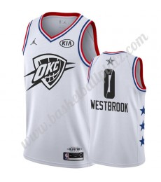 Oklahoma City Thunder Trikot Herren 2019 Russell Westbrook 0# Weiß All Star Game Basketball Trikots ..