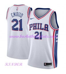 Philadelphia 76ers NBA Trikot Kinder 2018-19 Joel Embiid 21# Association Edition Basketball Trikots ..